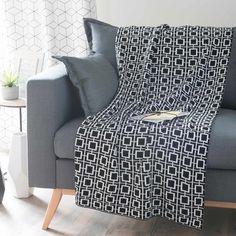 Jeté noir/blanc 125 x 150 cm ESCUDERO