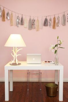 Pink Office, white, festive, confetti