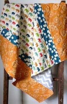 Baby Quilt, Modern Baby Quilt, Organic Quilt, Birch Fabric, Bear ... : organic baby quilts - Adamdwight.com