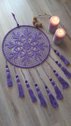 Crochet Home, Love Crochet, Crochet Crafts, Yarn Crafts, Crochet Projects, Crochet Dreamcatcher Pattern, Crochet Mandala Pattern, Crochet Doilies, Crochet Patterns