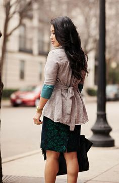 cute & little blog | the limited gray cardigan, teal sweater, j. crew floral brocade pencil skirt, celine, winter work outfit