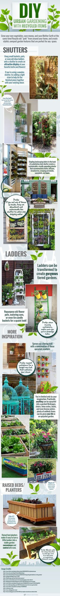 DIY Gardening Ideas with Recycled Items – Infographic