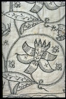 Skirt | Museum of London - the ground is covered by five horizontal rows of large scrolling stems enclosing exotic lilies, with butterflies and smaller insects scattered between them. - See more at: http://collections.museumoflondon.org.uk/Online/object.aspx?objectID=object-79216&start=2&rows=1#sthash.VEOK4pzH.dpuf