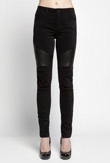 Workshop velvet pants with leather biker inserts