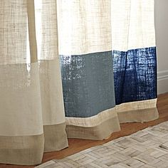 Color blocked burlap curtains. Easy DIY curtains. Tape it off with Frog Tape, and paint with fabric paint.