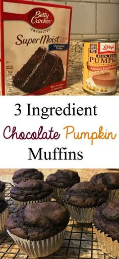 Making these chocolate pumpkin muffins is so easy with only 3 ingredients (literally just add water!) We'll be making these with other flavor cake mixes! Weight Watcher Desserts, Weight Watcher Muffins, Weight Watchers Kuchen, Weight Watchers Pumpkin Cake Recipe, Köstliche Desserts, Delicious Desserts, Dessert Recipes, Yummy Food, Apple Desserts