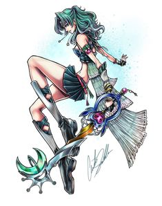 Sailor Pluto Keyblade Master by on DeviantArt Sailor Moon Girls, Sailor Moon Fan Art, Sailor Moon Character, Sailor Uranus, Sailor Moon Crystal, Sailor Neptune Cosplay, Kingdom Hearts Crossover, First Animation, Estilo Anime