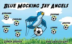Angels-Jay-Mocking-Blue-46878  digitally printed vinyl soccer sports team banner. Made in the USA and shipped fast by BannersUSA. www.bannersusa.com