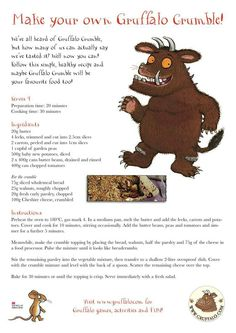 Gruffalo crumble Gruffalo Activities, Activities For Kids, Activity Ideas, Literacy Activities, Play To Learn, Learn To Cook, The Gruffalo, Gruffalo Party, Elephant Coloring Page