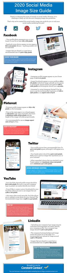 It can make you a bit confused when it comes to images to use in different social media networks. The team from Constant Contact has put together this updated social media image size guide that provides Social Media Trends, Social Media Images, Social Media Site, Marketing Digital, Online Marketing, Social Media Marketing, Content Marketing, Marketing Strategies, Social Networks