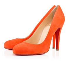 """""""Ron Ron"""" is your match if you're looking for a round toe pump with a strong heel, low-cut vamp, and gorgeous arch. Try this 100mm version in luxe papaye suede to add a pop of color to your ensembles."""