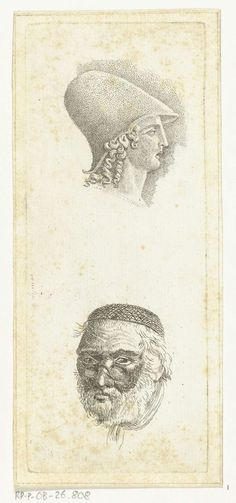 Anthonie van den Bos   Studieblad met twee hoofden, Anthonie van den Bos, 1778 - 1838   Boven het hoofd van een jonge man met een helm op, onder een oude man met baard en brilletje.