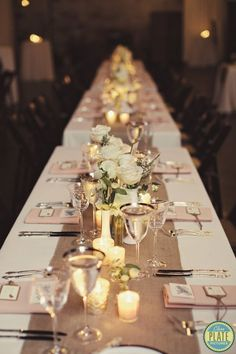 Long tables settings! The Green Building Wedding