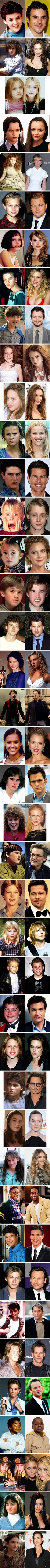 Celebrities, then and now.