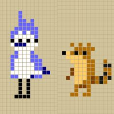 Mordecai and Rigby from The Regular Show perler bead patterns designed by Rosealine_Black