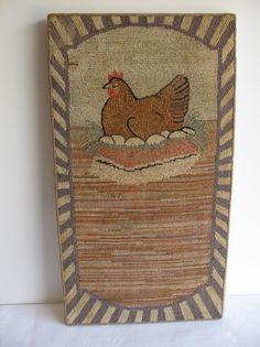 Hand hooked American rug, mounted, Circa 1930