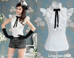 Mouse over image to zoom  Japan fashion punk Rock gothic Lolita Lace Collar top Blouse Shirt White S~XL