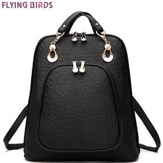 FLYING BIRDS women backpack leather backpacks women bag school bags  backpack women s travel bags Rucksack bolsas LM3064 LS4504fb-in Backpacks  from Luggage ... aca70eae83e1c
