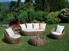 Salotto da giardino @Divano3P+2Poltrona+Tavolo@rattan naturale+cuscini (ATMO34)