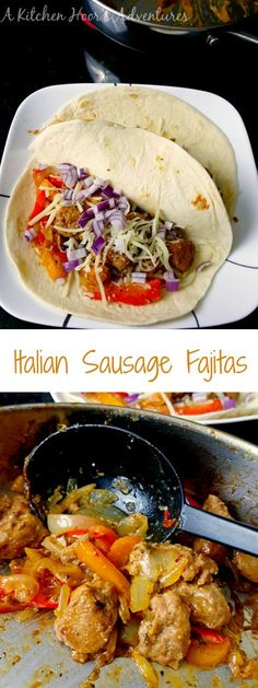 With all the flavor of an Italian sausage sub, these Italian Sausage Fajitas are super quick, delicious, and perfectly kid friendly! #FreakyFriday