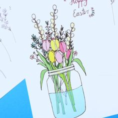 Easter cards are made with a floral motif Doodle Art Letters, Doodle Art Journals, Doodle Art For Beginners, Doodle Art Drawing, Unique Drawings, Hoppy Easter, Easter Eggs, Printable Coloring, Floral Motif