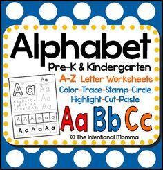 Pre-K Kindergarten A-Z letters color trace highlight homeschool preschool teachers pay cut