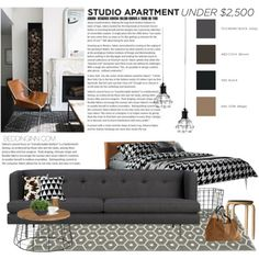 Studio Apartment Under $2,500 by punnky-interiors on Polyvore featuring interior, interiors, interior design, дом, home decor, interior decorating, CB2, Ethan Allen, H&M and Wolford