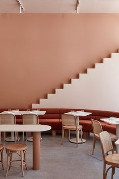 Cafe Interior, Interior Design, Cafe Pictures, Melbourne Cafe, Earthy Color Palette, Grand Budapest Hotel, Banquette Seating, Custom Furniture, Soft Furnishings