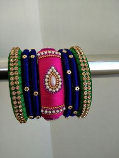 Pink Blue n Green Silk Thread Bangles