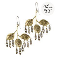 Waxing Poetic Dewdrop Triple Leaf Brass Earrings