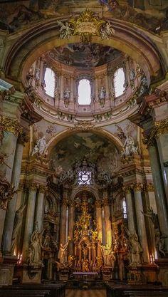 RC Concepcion Prague - Church ˚Inside a Church - Prague Temple Architecture, Baroque Architecture, Classical Architecture, Catholic Altar, Abandoned Churches, Prague Travel, Cathedral Church, Church Design, Place Of Worship