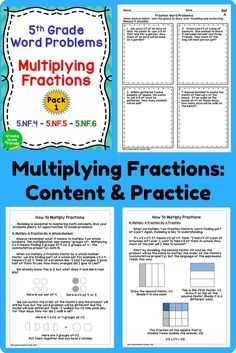 Check out these word problems and content to practice multiplying fractions for Common Core Standards 5.NF.4, 5.NF.5, and 5.NF.6. I've included clear, concise content, with graphics, on how to model multiplying a fraction times a fraction and a fraction times a whole number.