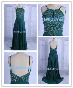Long Prom DressLong Beaded Open Back Dark Green by HelloDress, $129.00