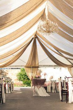 burlap wedding ideas - burlap and linen tent drape