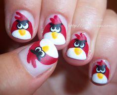 uñas con deseños angry bird