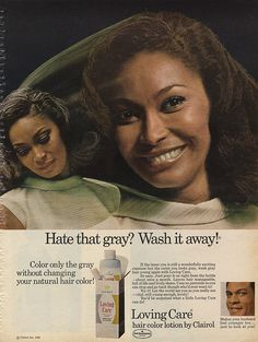 "Actress Marlene Clark in a 1969 Clairol advertisement. Clark is best known for her roles in the films ""Ganja & Hess,"" and ""Putney Swope. Vintage Black Glamour, Vintage Beauty, Vintage Makeup, Vintage Advertisements, Vintage Ads, Black Hair History, Natural Hair Care, Natural Hair Styles, Clairol Hair Color"