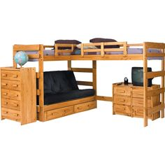 Chelsea Home Furniture L Shaped Twin / Futon Loft Bed with Underbed Storage in Honey Futon Bunk Bed, Loft Bunk Beds, Modern Bunk Beds, Kids Bunk Beds, Futon Mattress, Twin Futon, Futon Bedroom, Small Futon, Futon Couch