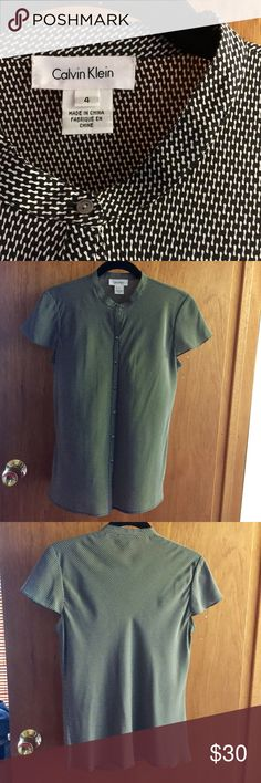 Calvin Klein silk blouse sz 4 100% silk, CK, button up, cap sleeve blouse. Like new condition. Calvin Klein Tops Blouses