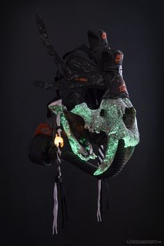 The 99th sneaker mask created by Freehand Profit. Made from 1 pair of Atmos Air Max 90s and featuring a resin cast saber tooth tiger skull.