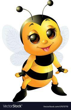 Beautiful cute bee vector image on VectorStock Baby Animals, Cute Animals, Bee Pictures, Bee Drawing, Cartoon Bee, Disney Cars Party, Emoji Love, Cute Bee, Bee Art