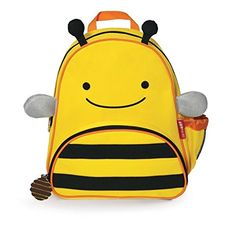 """Skip Hop Zoo Toddler Kids Insulated Backpack Brooklyn Bee, 12-inches, Yellow - The backpack where fun meets function! Whimsical details and durable materials make this the perfect pack for on-the-go! Easily holds all the supplies your preschooler might need for a busy day of """"work"""" and play, and the mesh side pocket adjusts to fit a juice box, sippy cup or water bottle. The..."""