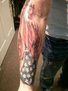 What does american flag tattoo mean? We have american flag tattoo ideas, designs, symbolism and we explain the meaning behind the tattoo. American Flag Forearm Tattoo, Forearm Tattoo Men, Elbow Tattoos, Sleeve Tattoos, Tattoo Sleeves, Hand Tattoos, Trendy Tattoos, Tattoos For Guys, Military Tattoos