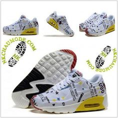 cheap for discount 8d3d8 fe983 Montante   Nike Chaussure Sport Air Max 90 Enfant Mickey Minnie Blanc Jaune