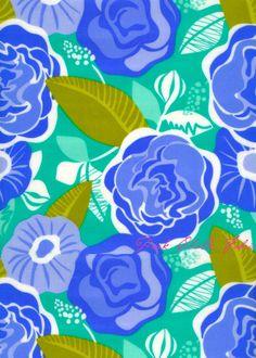 Kate Spain design floral print pattern blue green aqua