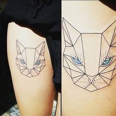 Beautiful cat muzzle tattoo idea in geometric style. Suitable for women. Girl Tattoos, Tattoos For Women, Tatoos, Geometric Cat Tattoo, Cute Cat Tattoo, Beyond Skin, Hipster Cat, Cat Tattoo Designs, Feminine Tattoos