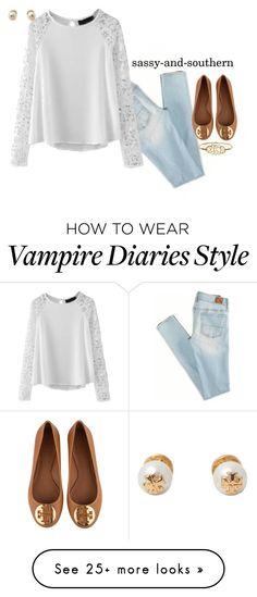 """I'm obsessed with vampire diaries oops"" by sassy-and-southern on Polyvore featuring American Eagle Outfitters, Tory Burch, ToryBurch, fall2015 and sassysouthernfall"