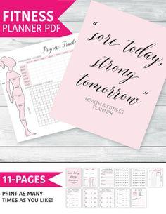Fitness Planner,Journal,Health, Workout Log, Workout Planner, Planner Inserts Printable Measurement Chart #ad #Etsy #getfit #fitnessplan #fitnessplanner #fitnessmotivation