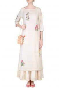 Ecru Mughal Botanic Embroidered Kurta and Stripe Sharara Pants Set #ecru #mughal…