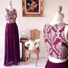 Robe longue voile bourgogne buste brodé doré dos ouvert - Dark red veil long dress golden embroidered bust open-back