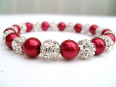Red Pearl Bracelet Stretch Bracelet Pearl and by KIMMSMITH on Etsy, $14.00